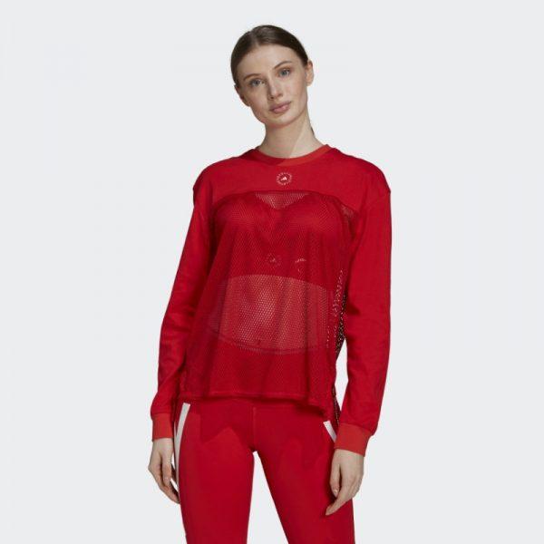 Stella Mc Cartney Addidas Mesh Longsleeve Damen rot Ansicht von vorne und dazu passende Sporthose in rot