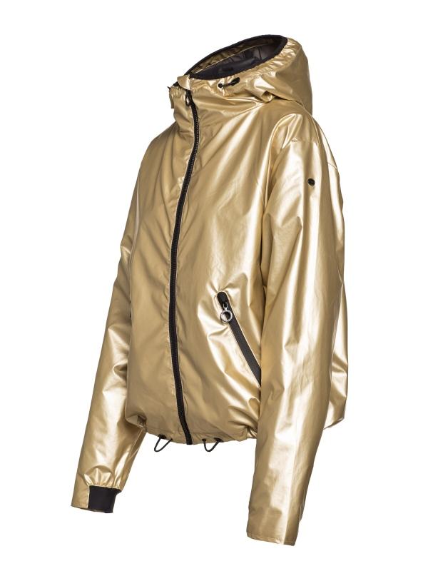 Goldbergh Gloria Jacke für Damen in Gold Ansicht von seitlich mit Kapuze aufgestellt Links