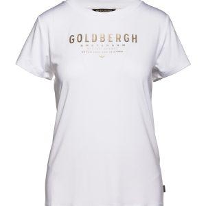Goldbergh Daisy T-shirt für Damen in weiß mit goldenem Logo Ansicht von vorner