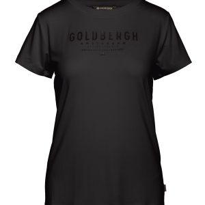 Goldbergh Daisy T-shirt für Damen in schwarz mit goldenem Logo Ansicht von vorne